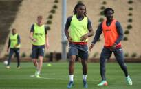 Swansea City attacking duo Renato Sanches and Wilfried Bony. Picture: @SwansOfficial/Twitter.