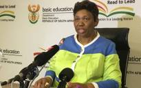 Education Minister Angie Motshekga is briefing the media on developments in the education sector. Picture: Hitekani Magwedze/EWN