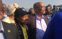 """""""PresidenJacob Zuma and his daughter arriving at the voting station at a local Nkandla school to cast his vote on 3 August 2016. Picture: Kgothatso Mogale/EWN."""