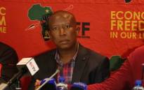 EFF leader Julius Malema speaks to the media at the IEC National Results Centre in Tshwane.  Picture: Christa Eybers/EWN