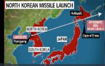 A screengrab of North Korea's latest missile launch. Picture: CNN