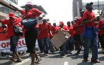 FILE: Members of Popcru march in Johannesburg CBD. Picture: EWN