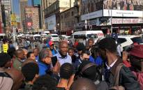 DA leader Mmusi Maimane interacted with taxi drivers and commuters in the Johannesburg CBD following a fuel increase. Picture: @Our_DA/Twitter.