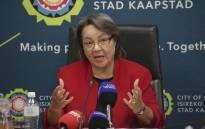 Mayor of Cape Town, Patricia de Lille addresses the media at a water briefing in Cape Town. Picture: Cindy Archillies/EWN.