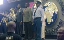 Police Minister Nathi Nhleko and acting national police commissioner Khomotso Phahlane received awards on behalf of the South African Police Service (SAPS) at the Alleluia Ministries in Sandton. Picture: Victor Magwedze/EWN.