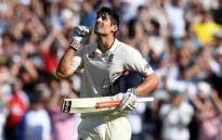 England batsman Alastair Cook celebrates scoring a century. Picture: AFP
