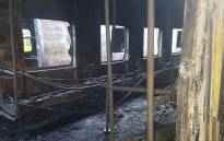 The wreckage of a train at the Cape Town train station following a fire on 21 July 2018. Picture: Prasa