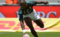 South Africa's Seabelo Senatla scores during the 2017 Cape Town Sevens tournament . Picture: @Blitzboks/Twitter