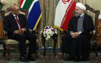 A handout picture provided by the office of Iranian President Hassan Rouhani on April 24, 2016 shows him (R) meeting with South African President Jacob Zuma at the presidential palace in the capital Tehran. Picture: AFP/IRANIAN PRESIDENCY