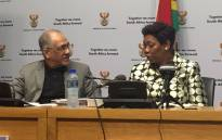 Basic Education Minister Angie Motshekga (right) and deputy Enver Surty (left). Picture: Lindsay Dentlinger/EWN