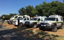 Police make their presence felt at the Hoërskool Overvaal in Vereeniging on 19 January 2018. Picture: Ihsaan Haffejee/EWN