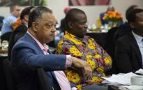Civil rights activist Reverend Jesse Jackson spoke at a business meeting in Sandton on 17 April 2018. Picture: Ihsaan Haffejee/EWN