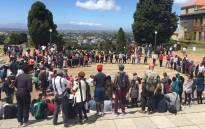 Protesting UCT students are singing struggle songs on Jammie plaza. Picture: Natalie Malgas/EWN.