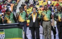 Gauteng Premier David Makhura, ANC President Jacob Zuma, Gauteng ANC chairperson Paul Mashatile and Deputy President Cyril Ramaphosa dance during the party's Gauteng manifesto launch on 4 June 2016. Picture: Reinart Toerien/EWN.