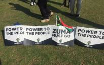 Posters seen on the ground in Pretoria where anti-Zuma demonstrators have gathered. Picture: Twitter/@Iavan13