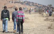 FILE: Lonmin mineworkers seen on a hill on the outskirts of Wonderkop village. Picture: EWN.