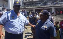 Acting National Police Commissioner Khomotso Pahlane (right) during a walkabout at the V&A Waterfront. Picture: Xolani Koyana/EWN.
