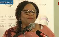 A screengrab of Water and Sanitation Minister Nomvula Mokonyane briefing the media on the department's plans to deal with Cape Town's water crisis.
