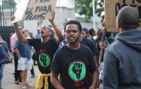 Tension flared after anti Zuma protesters clashed with BLF members who arrived at the Gupta's Saxonwold mansion in support of the President.  Picture: Christa Eybers/EWN.