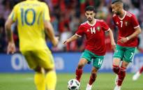 Morocco's Mbark Boussoufa and Hakim Ziyech in action during an international friendly against Ukraine at Stade de Geneve in Switzerland on 31 May 2018. Picture: Reuters.