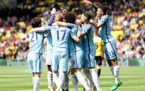Manchester City players celebrate their 5-0 victory at Watford. Picture: Twitter/@ManCity.