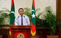 Maldives President Abdulla Yameen speaks of the dismissal of Vice President Ahmed Adeeb from his duties during his Address to the Nation in Male. Picture: AFP