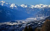 General view of the Swiss Alps from Crans-Montana above the Rhone valley in the Swiss canton of Valais, location of Sion. Picture: AFP