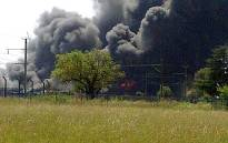 The fire at a plastic factory in Brakpan, East of Johannesburg on 8 January 2013. Picture: Mark Kotze/iWitness