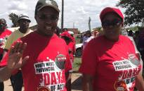 Nehawu's provincial secretary in the North West Patrick Makhafane during 'Provincial  Day of Action' march. Picture: Masechaba Sefularo/EWN