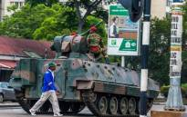 An armoured personnel carrier stationed at an intersection in Harare in Zimbabwe on 15 November 2017. Picture: AFP