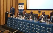 Finance Minster Nhlanhla Nene and the SA Revenue Service's top management present the revenue collection figures on 2 April 2018. Picture: @sarstax/Twitter