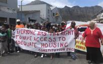 The City of Cape Town's Suzette Little joins Hangberg protesters who are demanding land for housing. Picture: Kaylynn Palm/EWN.