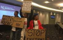 FILE: Protesters for affordable housing in Cape Town protest at the Affordable Housing Conference. Picture: Rahima Essop/EWN