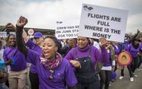 SAA workers protested against low wages outside the SAA Administration offices at the OR Tambo airport. Picture: Thomas Holder/EWN.