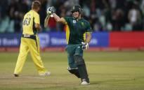 Proteas batsman David Miller celebrates scoring a century. Picture: AFP
