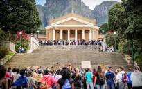 UCT upper campus is a main gathering spot for Fees2017 protesters to discuss their grievances. Picture: Anthony Molyneaux/EWN.