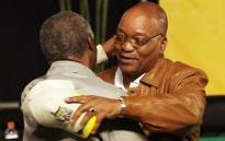Outgoing ANC President Thabo Mbeki congratulates newly elected party leader Jacob Zuma (right) on 18 December 2007 after Zuma defeated Mbeki in a vote at the party's conference in Polokwane. Picture: AFP.