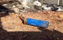 FILE: A rubber bullet shell is seen on the ground. Picture: EWN.
