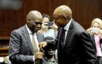 Former SABC COO Hlaudi Motsoeneng and former North West Premier Supra Mahumapelo seen at the Durban High Court where former president Jacob Zuma appeared. He is charged with 16 counts that include fraud' corruption and racketeering. Picture: Felix Dlangamandla/Pool