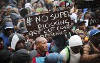 Residents from Imizamo Yethu protest outside the Cape Town Civic Centre. Residents protested against the ongoing super-blocking process in the informal settlement. Picture: Cindy Archillies/EWN.