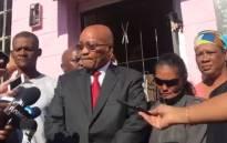 EWN video screengrab of President Jacob Zuma outside Courtney Pieters' home.