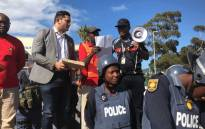 Community members from Imizamo Yethu handed over a memorandum of grievances to City of Cape Town officials during a protest on 26 March 2018. Picture: Monique Mortlock/EWN.