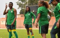 Desiree Ellis (with the ball) during a Banyana Banyana training session. Picture: Twitter