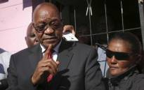 Jacob Zuma addresses the media outside the home of the murdered three-year-old Courtney Pieters. Picture: Cindy Archillies/EWN
