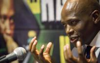 Hlaudi Motsoeneng addresses musicians and members of the media at the Milpark Garden Court on his current disciplinary process. Picture: Thomas Holder/EWN.