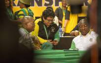 Jacob Zuma speaks to Jessie Duarte and Cyril Ramaphosa ahead of the announcement of the ANC's new top 6 on 18 December 2017. Picture: Thomas Holder/EWN