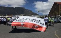 Members and supporters of Equal Education and Social Justice Coalition marching to Parliament. They want Parliament's police committee to fulfil its role in overseeing a revision of the way police resources are allocated. Picture: Monique Mortlock/EWN.