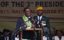 Newly sworn-in President Emmerson Mnangagwa speaks during the Inauguration ceremony at the National Sport Stadium in Harare, on 24 November 2017. Picture: AFP.