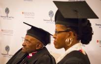 Archbishop Emeritus Desmond Tutu and his daughter Revered Canon Mpho Tutu van Furth attend a ceremony in which they were awarded honorary senior fellowships by Regent's University London in Cape Town on 3 May 2016. Picture: Aletta Harrison/EWN