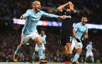 Manchester City's David Silva celebrates after scoring a goal. Picture: @21LVA/Twitter.